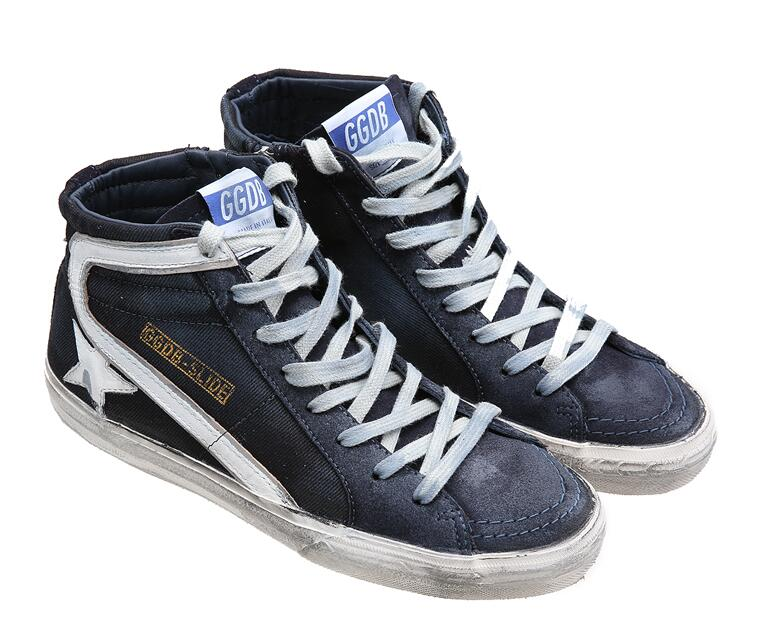 Golden Goose Deluxe Brand Mens Slide Sneakers In Navy Denim With White Leather Star