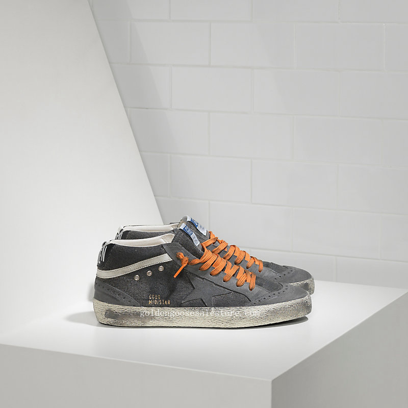 Golden Goose Deluxe Brand Men Mid Star Sneakers In Canvas DI Cotone E Stella Camoscio Denim Destroyed