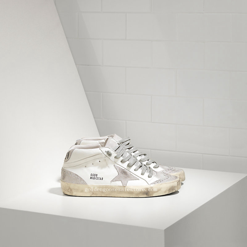 Golden Goose Deluxe Brand Men Mid Star Sneakers In Leather With Suede Star MGGS634F86