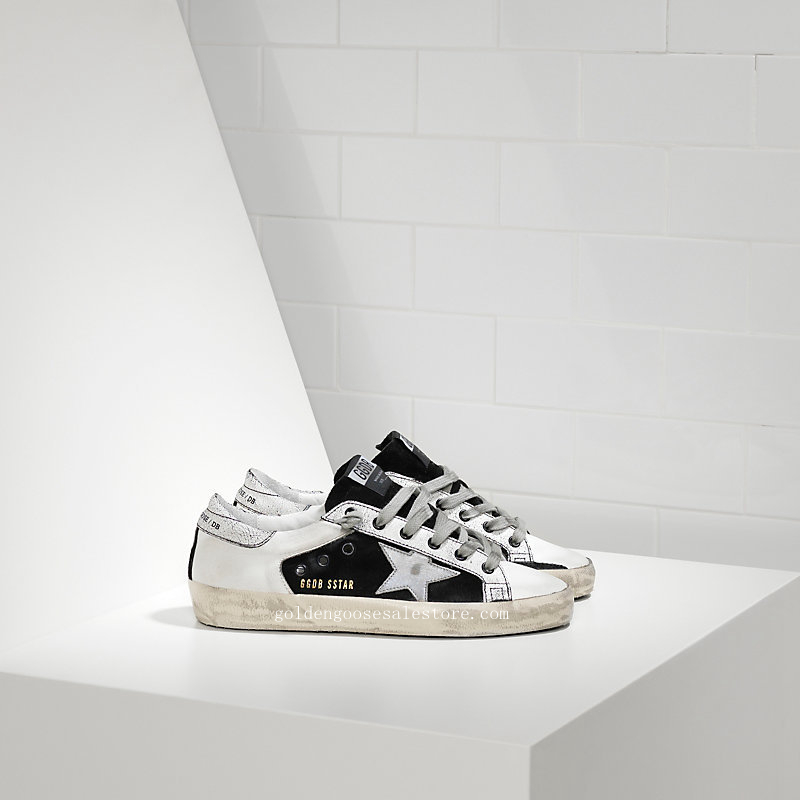 Golden Goose Deluxe Brand Men Super Star Sneakers In Leather Black And Star