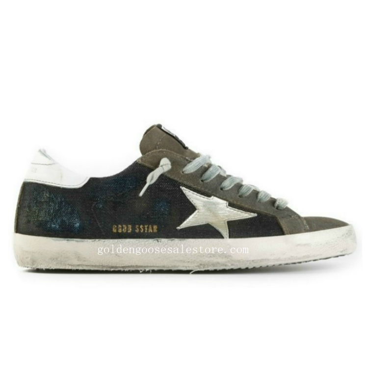 Golden Goose Deluxe Brand Men Superstar Sneakers In Brown Navy Jeans with White Star