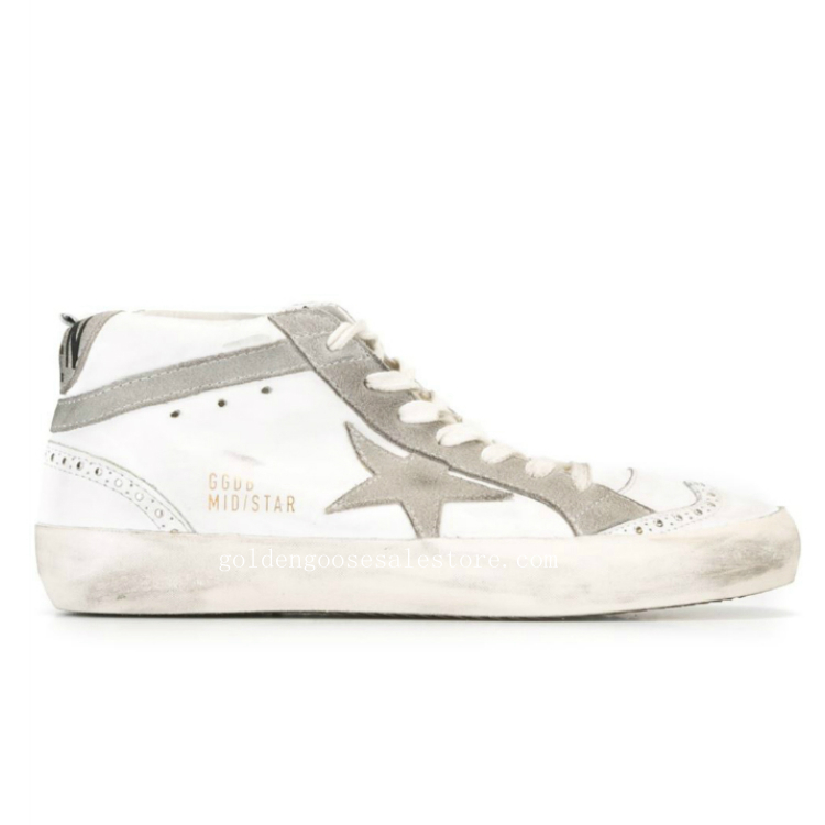 Golden Goose Deluxe Brand Mid Star Sneakers White And Grey Leather And Suede