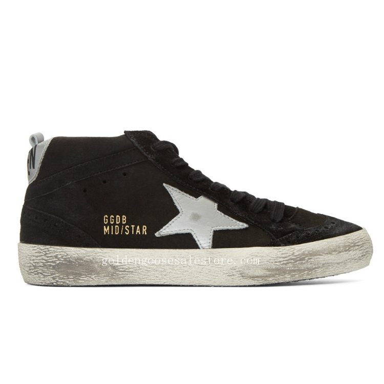 Golden Goose Deluxe Brand Mid Star Sneakers in Black Suede and White Star GGS211140