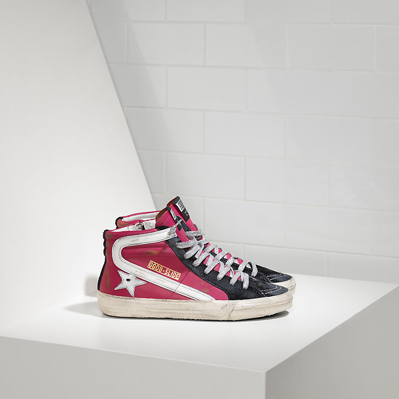 Golden Goose Deluxe Brand Slide Sneakers In Leather With reflective Star
