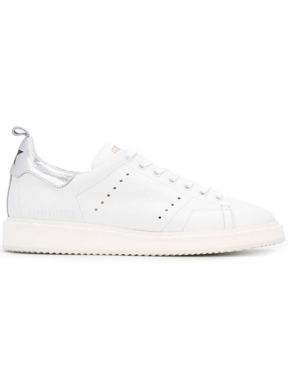 Golden Goose Starter Sneakers In White Leather With G12 Silver