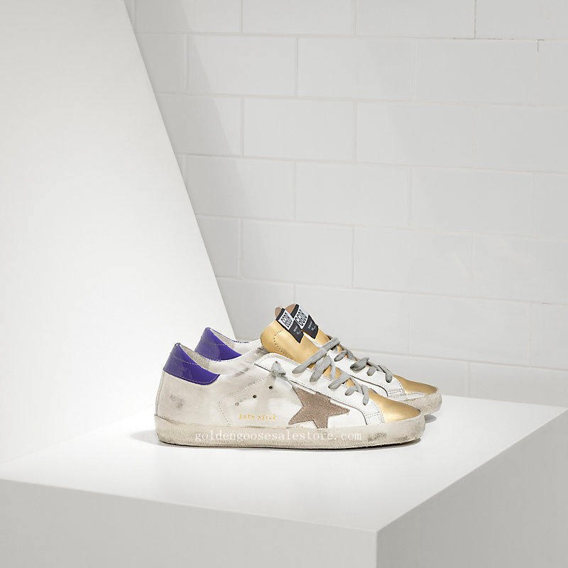 Golden Goose Deluxe Brand Super Star Couples Shoes White Purple Gold