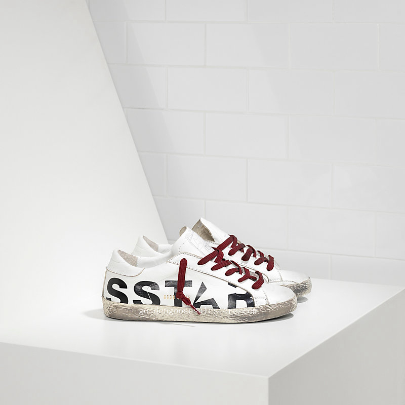 Golden Goose Deluxe Brand Super Star Sneakers In Leather With Screen Printed Star WS590A30