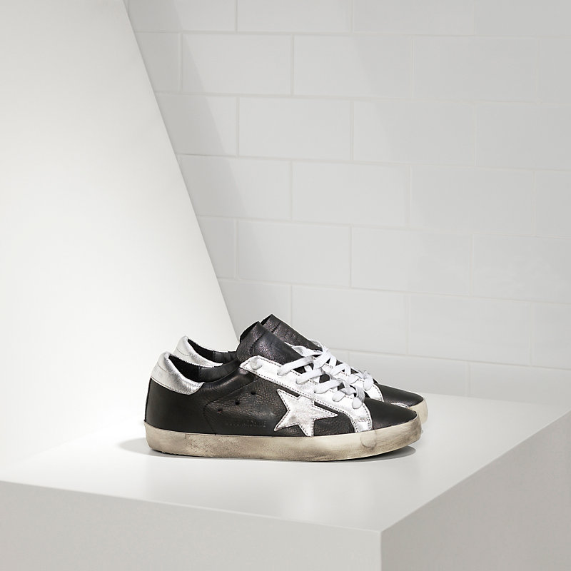 Golden Goose Deluxe Brand Women Archive Super Star Sneakers In Black Leather with White Star
