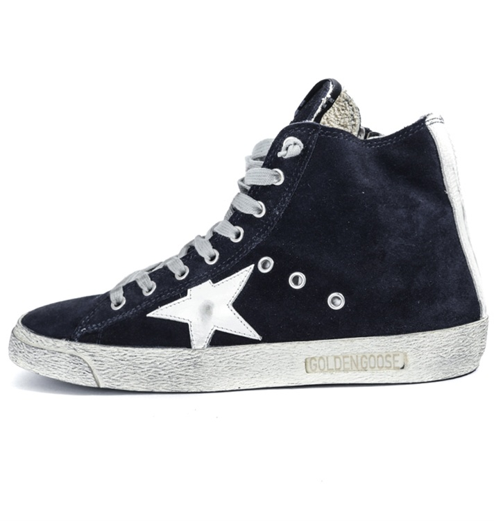 Golden Goose Deluxe Brand Women Francy Sneakers In Navy Suede With Leather Star