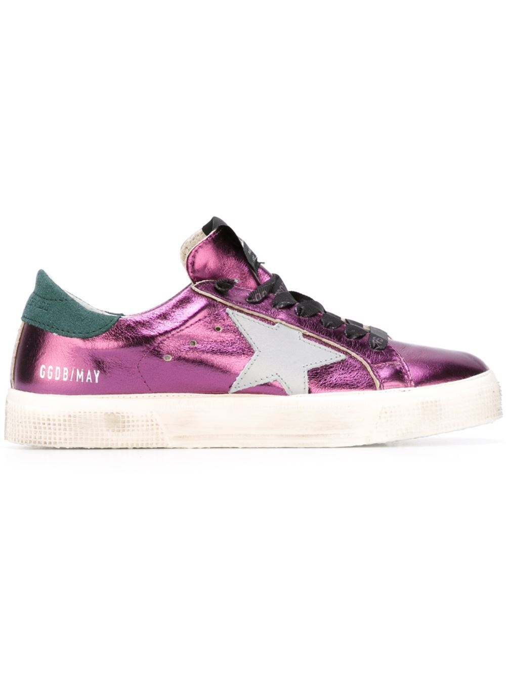 Golden Goose Women May Sneakers In Purple Leather With Silver Star