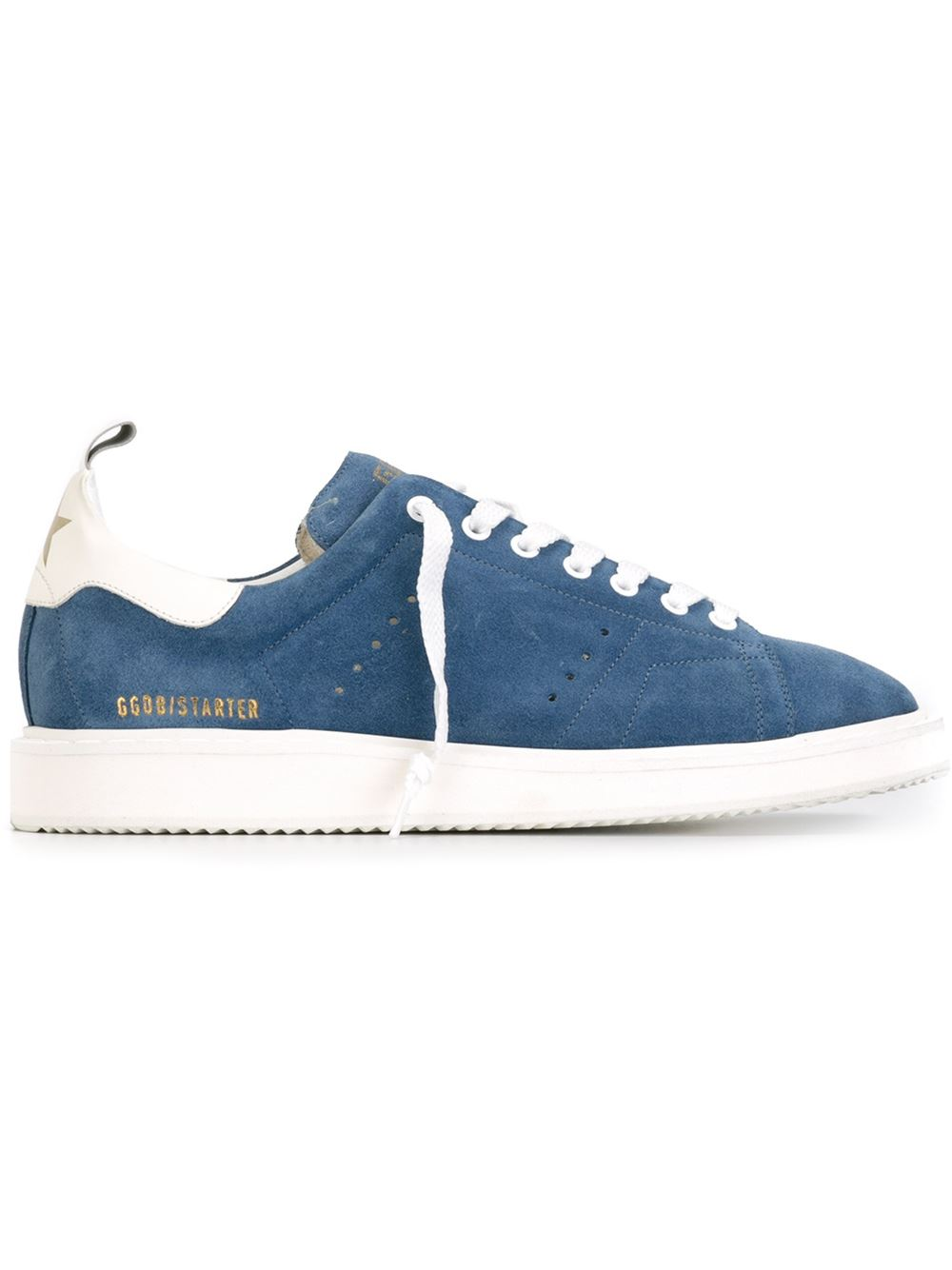 Golden Goose Women Starter Sneakers In Lake Blue Suede With White Leather