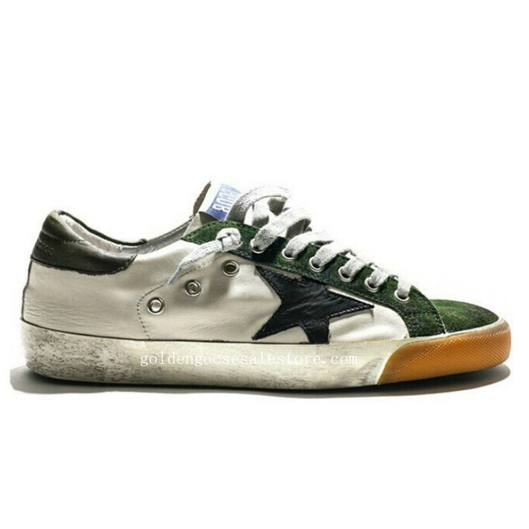 Golden Goose Deluxe Brand Women Superstar Sneakers In Green Suede White Leather and Black Star