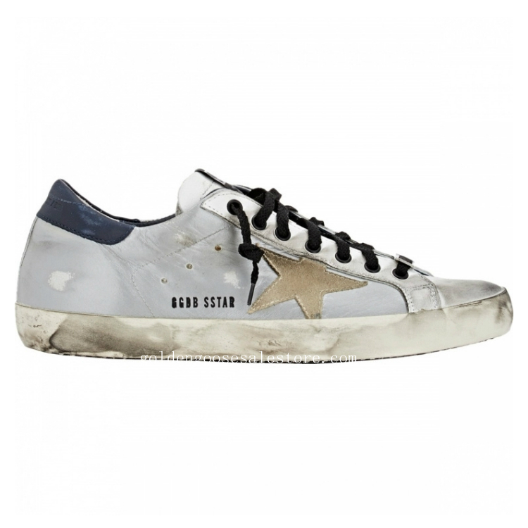 Golden Goose Deluxe Brand Women Superstar Sneakers In Grey Black With Dark Blue Back And Star
